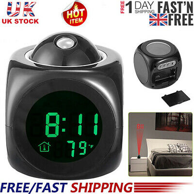 Alarm Clock LED Wall/Ceiling Projection LCD Digital Voice Talking Temperature UK