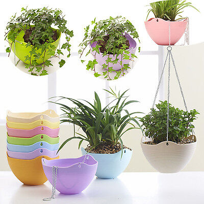 Wall Fence Plastic Hanging Basket Garden Plant Flower Pot Chain Planter φ21cm