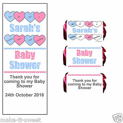 20 Personalised Baby Shower Mini Love Heart Rolls Favours Wrappers Only