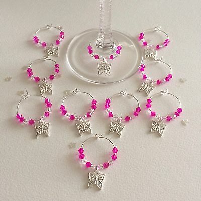 20 Hot Pink wedding wine glass charms. Favours. Gift. Party.