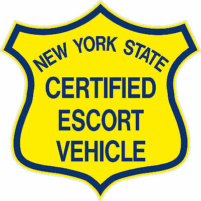 """NEW YORK STATE CERTIFIED ESCORT VEHICLE"" pilot car badge decal sticker - PAIR"