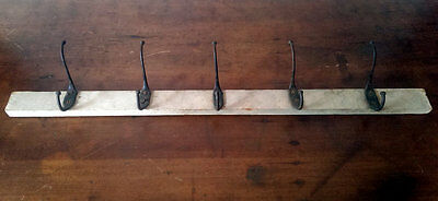 "Antique 32"""" Cast Iron Coat Hat Hook Clothes Rack Set 5 Vintage Victorian Shabby"