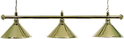 Pool Table Lighting Polished Brass Bar With 3 Polished Brass Shades##