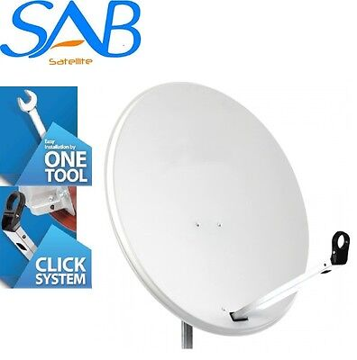 1M Solid High Quality Satellite Dish & Pole Fittings 100CM Hotbird Astra Freesat