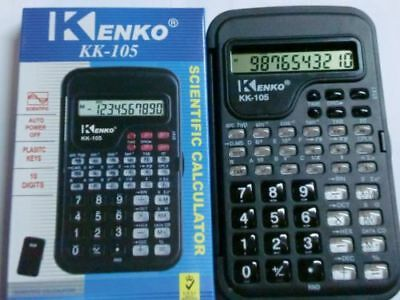 BLACK SCIENTIFIC CALCULATOR WITH COVER UNIVERSITIES COLLEGE KK-105 CALC  Clock