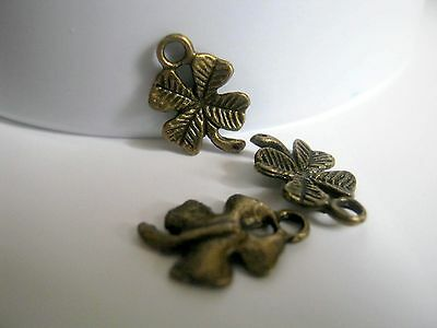 15 Bronze Tone Four Leaf Clover Charms 10x4mm Jewelry Supplies