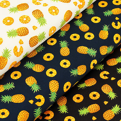 Cotton Fabric by FQ Pineapple Tropical Fruit Food Dress Quilting Patchwork VK101