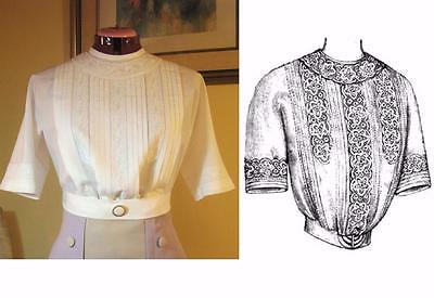 Sewing Pattern for Classic 1912 Edwardian Lingerie Blouse ~Dual Sz-Med&Large