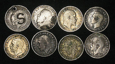 Lot of 8: Great Britain Threepence silver, damaged