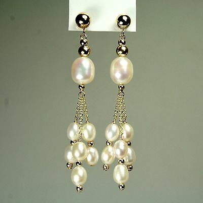 14k solid y/gold natural  freshwater White Pearl stud earrings butterfly backs