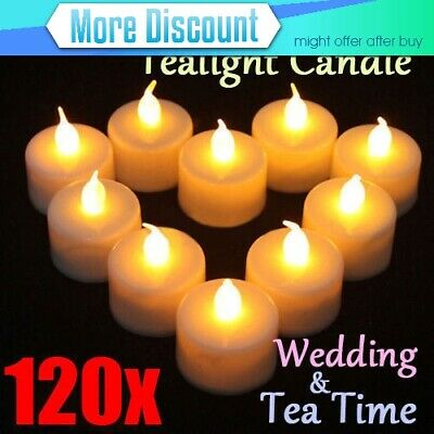 120x LED Flameless Tealight Candle Tea Light Wedding Decoration Battery Included
