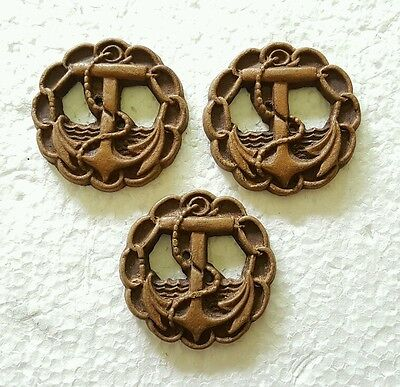 3 Vintage Burwood Anchor Nautical Wooden Buttons