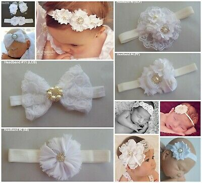 Baby Headband Headbands White Christening Baptism Wedding Flowergirl Fascinator