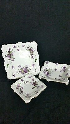 Hammersley Victorian Violets Pattern 3 Pc Candy Dishes