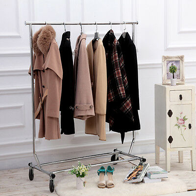 Single Pole Adjustable Portable Clothes Rail Display Hanger Stand Rack Garment