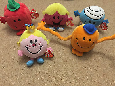 Mr Men and Little Miss TY Beanie Babies Soft Plush Toy Teddy New