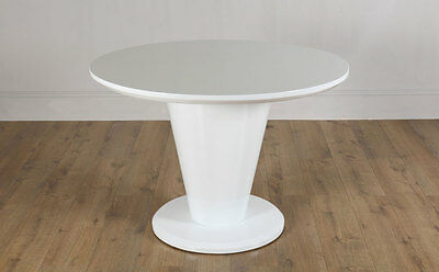 Paris White High Gloss Round Dining Room Table