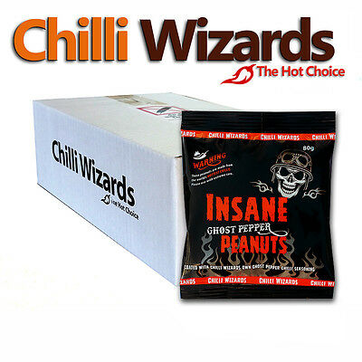 Insane Ghost Pepper Chilli Peanuts - Hot as Hell. Bulk Wholsale Case - 24 Packs
