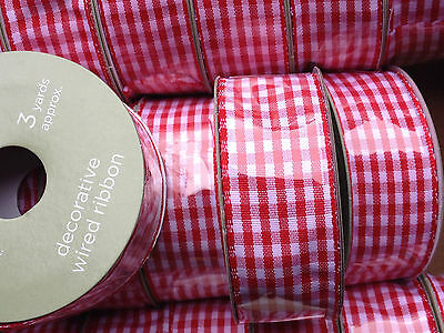 Red & White Gingham check fabric Ribbon gift wrapping parcel ribbon