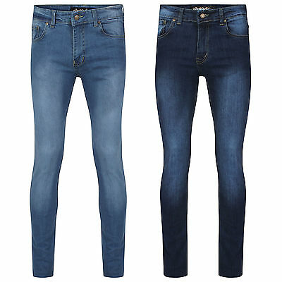 Mens Boys Denim Stretch Skinny Slim Fit JEANS All Sizes Waist Leg Sizes 30 - 42
