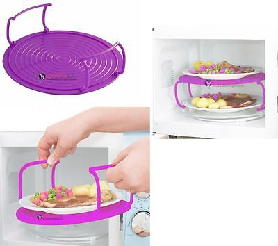Microwave Support Folding Tray Plate Double Mat Layer Dish Bowl Cover Holder