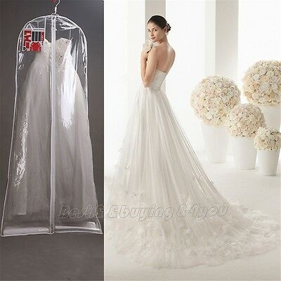 1x Clear Wedding Dress Cover Storage Bags Dustproof Large Bridal Gown Garment