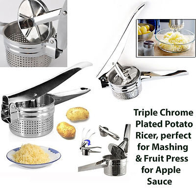 Stainless Steel Hand Held Potato Masher Ricer Puree Fruit Juicer Press Maker Uk
