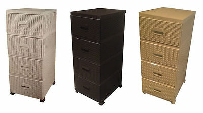 rattan plastik 4 schubladen kommode aufbewahrungs turm ordner zieht eur 45 25 picclick de. Black Bedroom Furniture Sets. Home Design Ideas