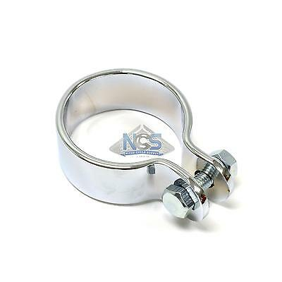 Motorcycle Custom Exhaust Head Pipe Muffler Mounting Center Clamp Chrome 1-1/2