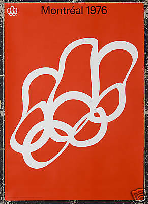 Original Vintage Poster Montreal Summer Olympics 1976 Rings Sport Athlete Canada