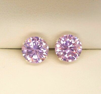 Pink Sapphire 925 Silver Stud Earrings  Round 8Mm Lab-Created Stone Solid Silver