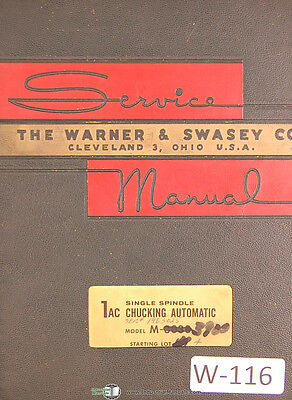 Warner & Swasey 1AC Automatic, M-3030 Service Manual 1959