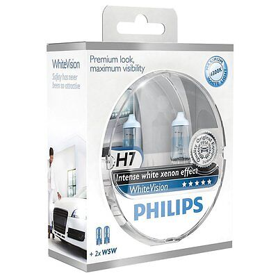 Philips White Vision H7 55W/12V Halogen Bulbs, set of 2 pieces Headlight