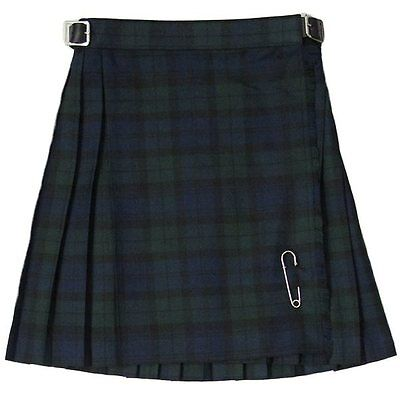 New Girls Pleated Black Watch Tartan/Plaid Scottish Kilt Skirt Ages 2 - 14
