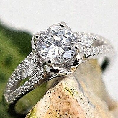 925 Sterling Silver Rings 3 Stones Round Cut CZ Bridal Engagement/Wedding Ring