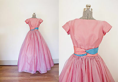 Vintage 1950s Dress - Pink Organza Full Skirt 50s Gown - Small