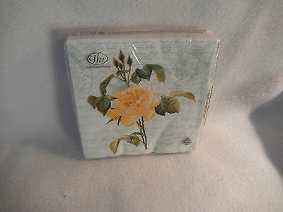 Ideal Home Range ''love Letter'' Yellow Rose 20 Paper Beverage Napkins-New