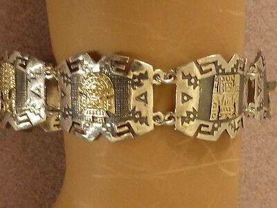 Vintage Old Peruvian sterling and solid 10k yellow gold figures line bracelet