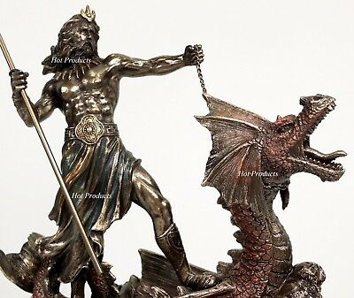 Poseidon W Trident Hippocampus GREEK MYTHOLOGY God of Sea Statue Bronze Finish