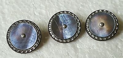 Vintage Copper & Alabaster Shell Mother of Pearl Buttons