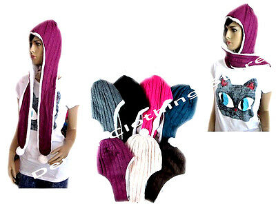 Women Winter Warm Soft Plush Faux Fur Hooded Cap Hat Scarves Hood Hat and Scarf