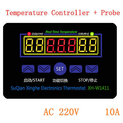 NEW 220V 10A Digital LED Temperature Controller Thermostat Control Switch+Probe