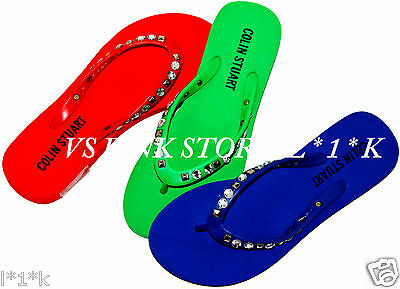VICTORIA'S SECRET COLIN Stuart JEWELED Flip-Flops Sz 5 (red, blue, green)