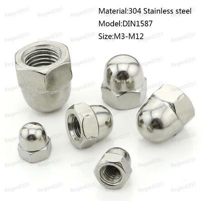 M3/M4/M5/M6/M8/M10/M12 A2 Stainless Steel Dome Head Cap Acorn Hex Nuts DIN1587