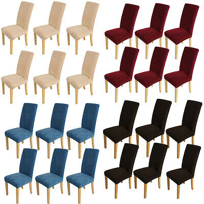 6pcs Super Fit Stretch Dining Room Chair Covers Slipcover Protector Washable
