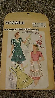 Vintage 1940's McCall #1124 Apron Sewing Pattern