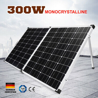 300W Folding Solar Panel Kit 12V Camping Caravan Power Mono 300Watt W/ Regulator