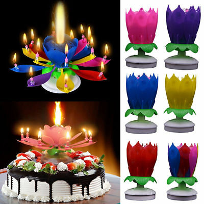 1 PC Flower Romantic Musical Lotus Rotating Happy Party Cake Birthday Candle