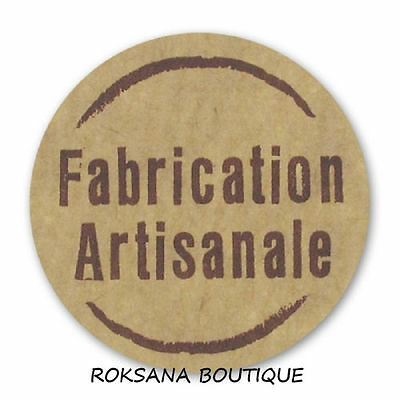 lot 50 etiquettes stickers fabrication artisanale rond marron ecru brun neuf