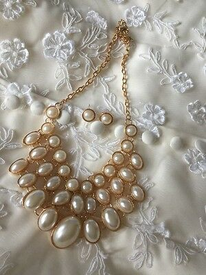 Ivory Pearl Bridal Wedding Gold Necklace Vintage Style jewellery Set